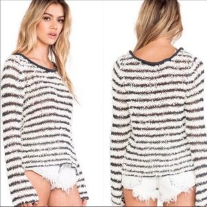 Free People Downy Bell Sleeve Shag Sweater Top